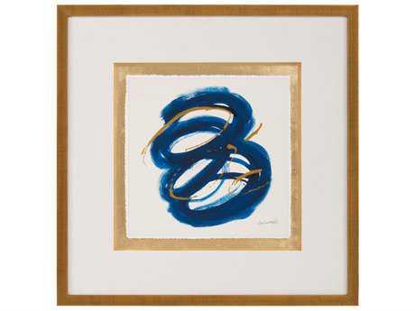 John Richard Abstract Dyann Gunter's Blue & Gold III Wall Painting