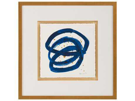 John Richard Abstract Dyann Gunter's Blue & Gold IV Wall Painting JRGBG1055D