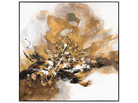 John Richard Abstract Chen Qi's Small Gilt & Charcoal Wall Painting JRJRO2754