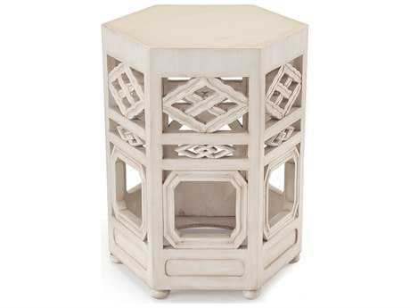 John Richard Travers Accent in Glazed 20 x 20 Hexagon White End Table