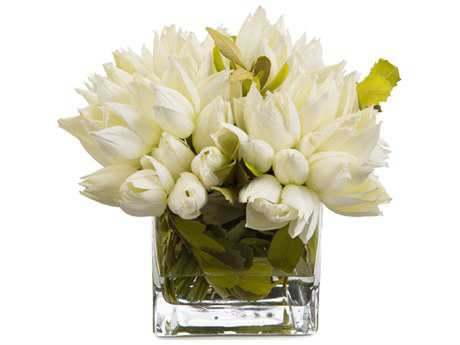 John Richard Transitional Fresh Water Look Snowdrop Tulips Decorative Floral Arrangement JRJRB3490W