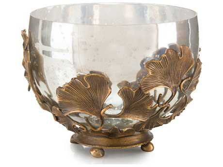 John Richard Gold Ginkgo Design with Mercury Decorative Bowl JRJRA9675