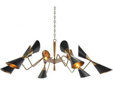 John Richard Mid Century Bronze And Brass 12-Light 66'' Wide Chandelier JRAJC8973