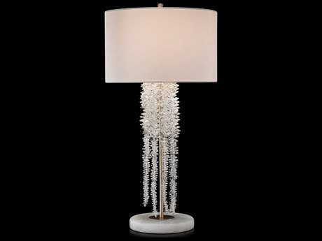 John Richard Cascading Crystal Waterfall White Alabaster and Antique Silver 17'' Wide Buffet/Table Lamp JRJRL9395