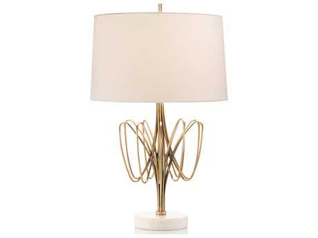 John Richard Twisted Bloom Brass and White Marble 18'' Wide Buffet Lamp JRJRL9417