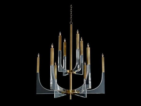 John Richard Acrylic And Brass Ten Light Chandelier JRAJC9040