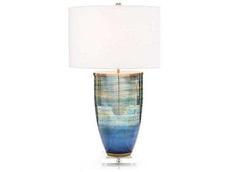 John Richard Blue Striated Glass Buffet Lamp JRJRL9832
