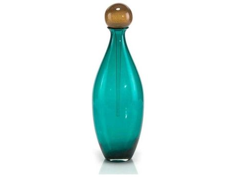 John Richard Aqua And Amber Glass Bottle JRJRA10767