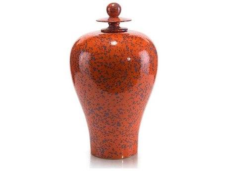 John Richard Dappled Blue On Orange Jar JRJRA10775