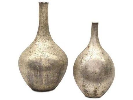 John Richard Set Of Two Silver Iridescent Vases JRJRA11097S2