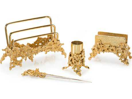 John Richard Four Piece Gold Rush Desk Set Decorative Accent JRJRA9646S4