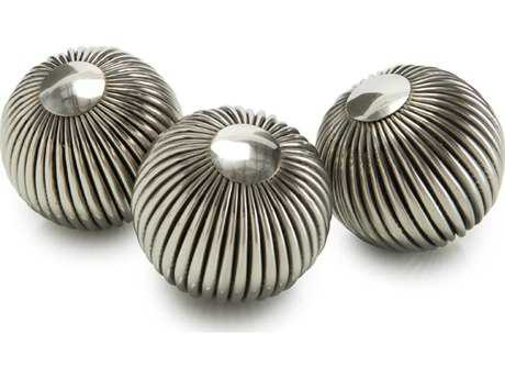 John Richard Steel Striped Balls (Three-Piece Set) Decorative Accent JRJRA9659S3