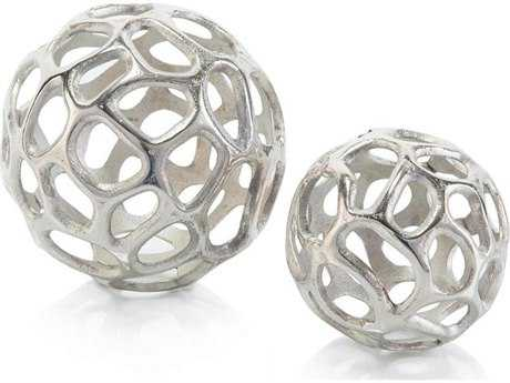 John Richard Pair of Silver Balls With Holes Sculpture JRJRA10356S2