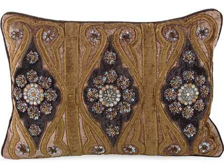 John Richard Taupe Velvet with Bronze & Chocolate Embroidered 14'' x 20'' Rectangular Pillow JRJRS033255