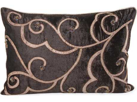 John Richard 20'' X 27'' Chocolate Velvet with Tan Embroidered Pillow JRJRS033262