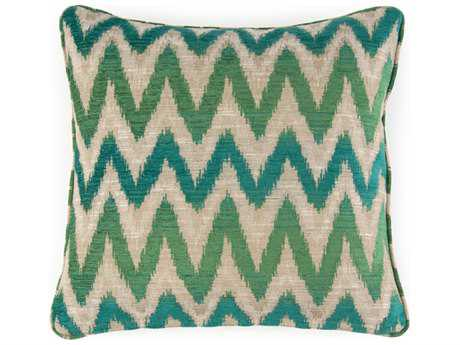 John Richard 20'' X 20'' Flame Stitch Green Pillow JRAMP2024A