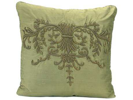 John Richard 18'' X 18'' Pillar Olive Silk Heavily Embroidered Pillow JRJRS033129