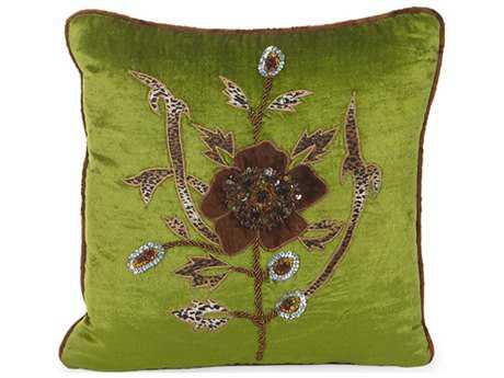 John Richard 16'' X 16'' Lime Green Velvet with Embroidered Pillow JRJRS033257
