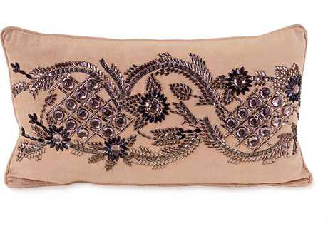 John Richard BlusUltra Suede with Black Bead Jewel 12'' x 22'' Rectangular Pillow