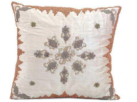 John Richard 18'' X 18'' Pillar Mauve Silk Heavily Embroidered Pillow JRJRS033121