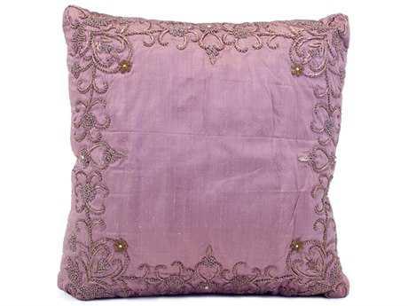 John Richard 18'' X 18'' Pillar Lavender Silk Heavily Embroidered Pillow JRJRS033125