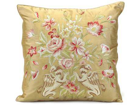John Richard 20'' X 20'' Gold Silk Embroidered with Bird Pillow JRJRS033144