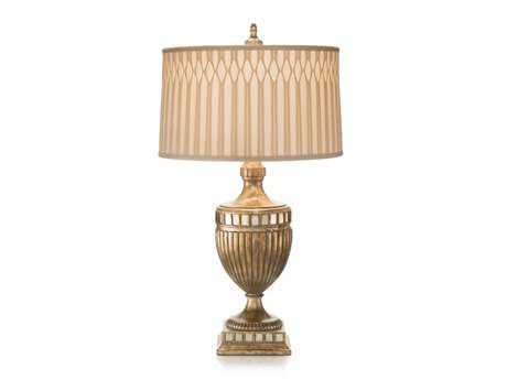 John Richard Glazed Mirror - Antique Gold Composition Table Lamp