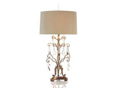 John Richard French Girandole Walnut And Gray Table Lamp