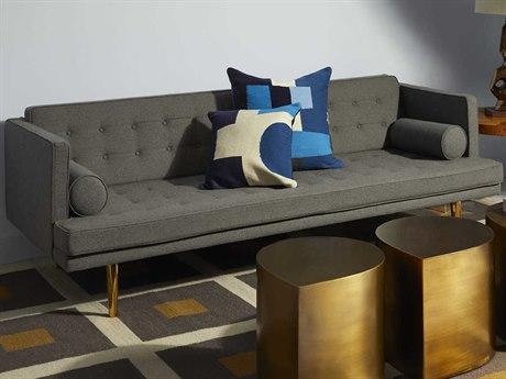 Jonathan Adler Alexander Denmark Smoke / Brass Sofa Couch JON26601