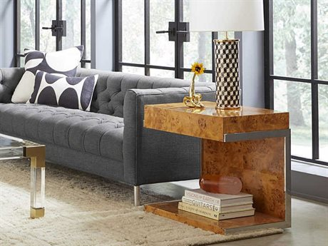 Jonathan Adler Bond Cantilevered Burled Mappa / Stainless Steel 26'' Wide Square End Table JON28637