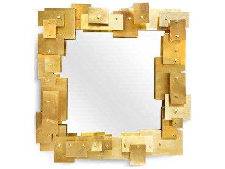 Jonathan Adler Brass Objets Wall Mirror