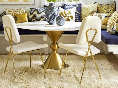 Jonathan Adler Caracas White Marble / Brass 54'' Wide Round Dining Table JON21445
