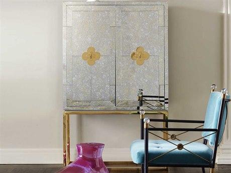 Jonathan Adler Delphine Antiqued Mirror / Brass Bar Cabinet JON19623