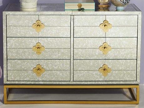 Jonathan Adler Delphine Antiqued Mirror / Brass 6 Drawers Double Dresser JON27689