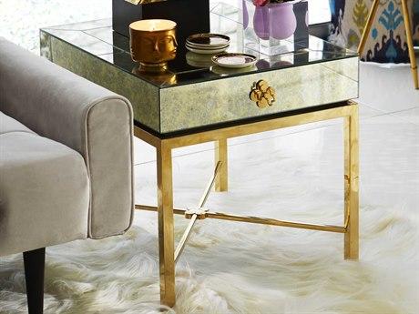 Jonathan Adler Delphine Antiqued Mirror / Brass 24'' Wide Rectangular End Table