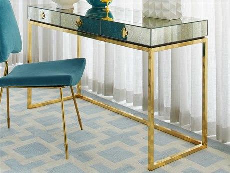 Jonathan Adler Delphine Antiqued Mirror / Brass Secretary Desk
