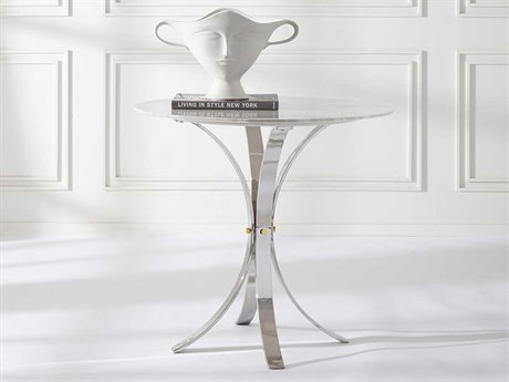 Jonathan Adler Electrum White Marble / Polished Nickel 32'' Wide Round Dining Table JON27438