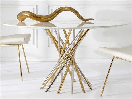 Jonathan Adler Electrum White Marble / Brass Nickel 54'' Wide Round Dining Table JON27584