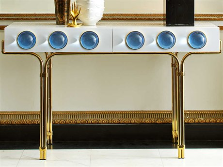 Jonathan Adler Globo White / Blue 50'' Wide Rectangular Console Table JON21724
