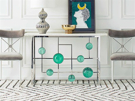 Jonathan Adler Globo Emerald / Nickel 48'' Wide Rectangular Console Table