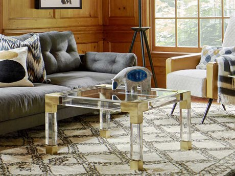 Jonathan Adler Jacques Clear / Brass 28'' Wide Square Coffee Table JON18003