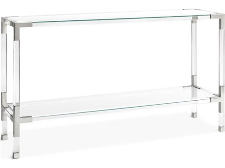 Jonathan Adler Jacques Clear / Nickel 50'' Wide Rectangular Console Table
