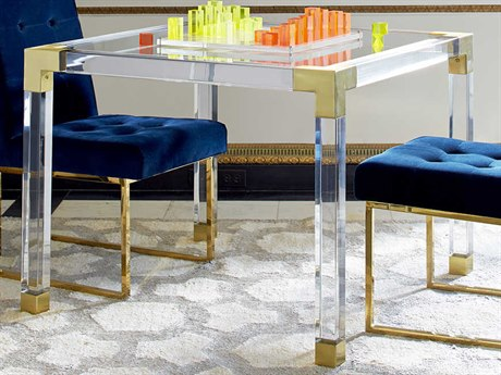 Jonathan Adler Jacques Clear / Brass 38'' Wide Square Dining Table JON21702