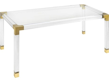 Jonathan Adler Jacques Clear / Brass 72'' Wide Rectangular Dining Table