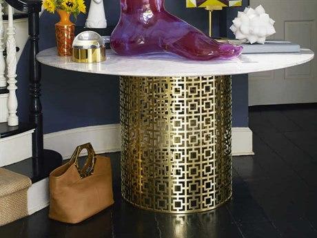 Jonathan Adler Nixon White Marble / Brass 54'' Wide Round Dining Table JON21071