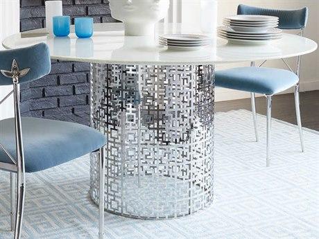 Jonathan Adler Nixon White Marble / Nickel 54'' Wide Round Dining Table JON21076