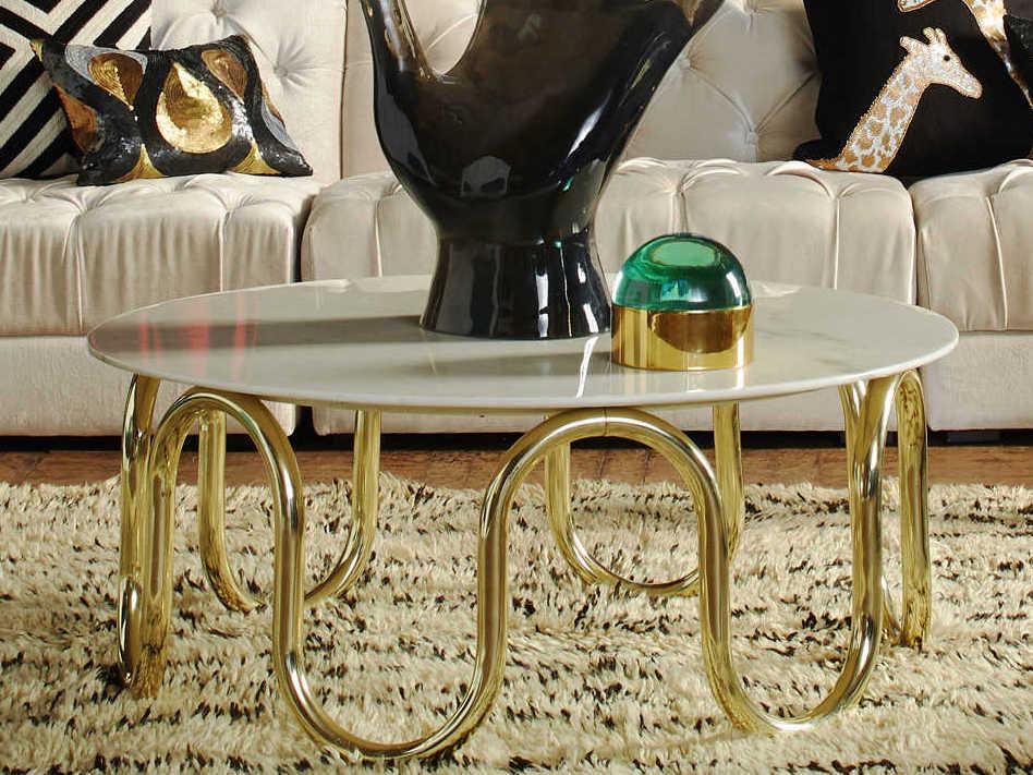Jonathan Adler Scalinatella Carrara Marble Brass 38 Wide Round Coffee Table Jon18614