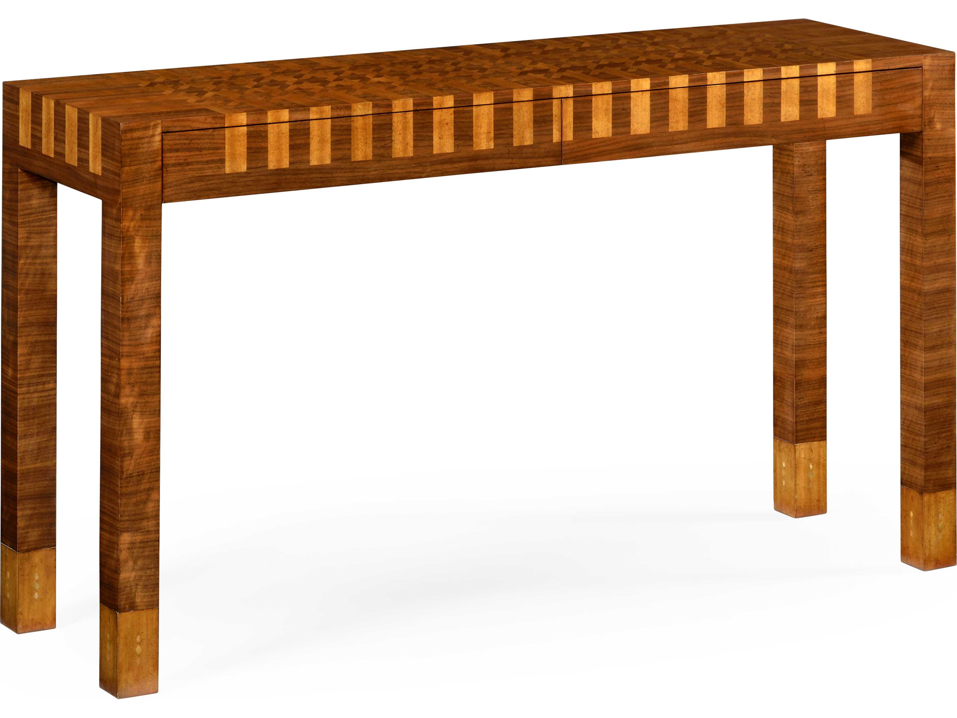 Jonathan Charles Alexander Julian Collection Light Walnut On Marquetry Veneer Console Table