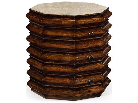 Jonathan Charles Artisan collection Rustic Walnut Finish Drum Table