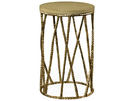 Jonathan Charles Artisan Light Brown Brass 16 Round Drum Table JC495085BRA